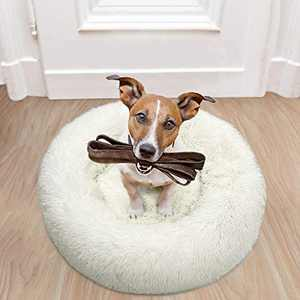 Terrug 25lb Small Dog Bed Comfortable Donut Cuddler Round Dog Bed Ultra Soft Washable Dog and Cat Cushion Bed Cream White 23''