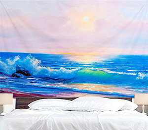 Sea Tapestry Wall Hanging Ocean Wave Sunset Tapestry Nature Landscape Wall Blanket Home Decorations for Living Room Bedroom Apartment Dorm Decor