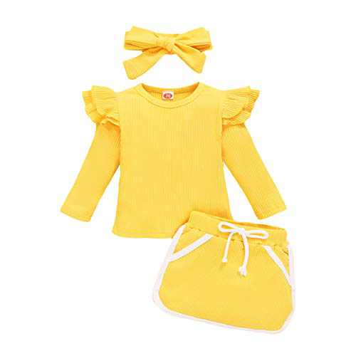 Baby Girl Outfits Autunm Clothes Infant Bright Skirt Outfit Set+Bow Headband 3 Pcs
