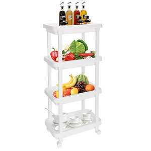 Rolling Organizer Storage Cart 4 Tier Rolling Slim Laundry Cart Bathroom Shelves Organizer with Wheels for Bathroom Laundry Pantry Kitchen Narrow Places (4-Tier)