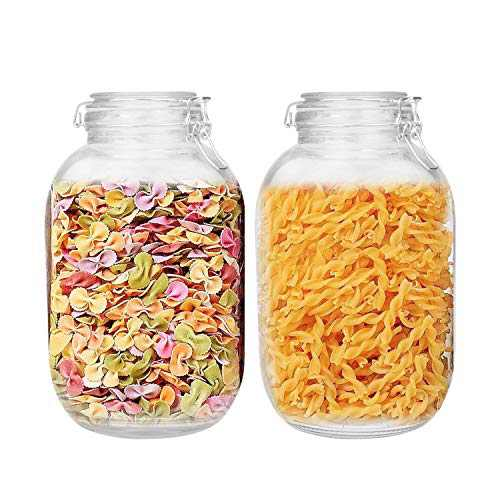 140oz/4200ml Glass Kitchen Storage Canister, Sealed Glass Jars with Lids, Airtight Glass Canister with Hinged Lid, Perfect for Kitchen Canning Cereal/Pasta/Sugar/Beans -Set of 2
