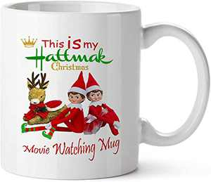 Pcdvn Christmas Movie Watching Mug, Funny Elf Coffee Cup Birthday Holiday Gifts For Women, Friends, Kids
