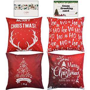 Christmas Throw Pillow Covers 18x18 Inch Set of 4 Super-Soft Velour Double Sided Printing Xmas Decorative Square Cushion Pillows Covers for Couch Sofa Bed with Invisible Zipper Xmas Greeting Card