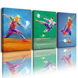Creative football wall decoration art prints-oil color print canvas poster art decoration painting living room, bedroom art painting (12x16 inches x3) poster picture