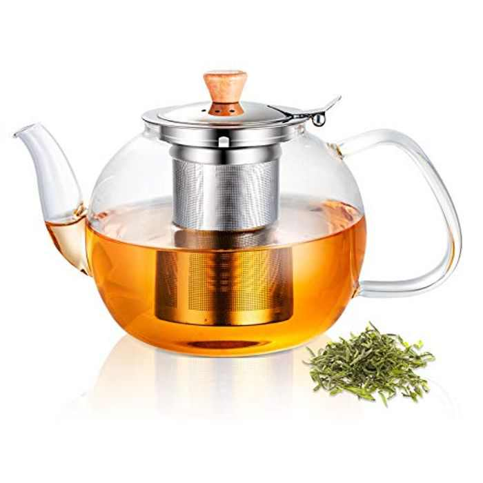 SUSTEAS Glass Teapot with Removable Stainless Steel Infuser,Borosilicate Glass Tea Kettle,Blooming & Loose Leaf Teapots (1.2L)