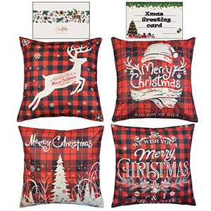 HAYZUSZ Christmas Throw Pillow Covers 18x18 Inch Set of 4 Linen Double Sided Printing Xmas Decorative Square Cushion Pillows Covers for Couch Sofa Bed with Invisible Zipper Gift of Xmas Greeting Card
