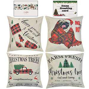 HAYZUSZ Christmas Throw Pillow Covers 18x18 Inch Set of 4 Linen Xmas Decorative Square Cushion Pillows Covers for Couch Sofa Bed with Invisible with Zipper Gift of Xmas Greeting Card