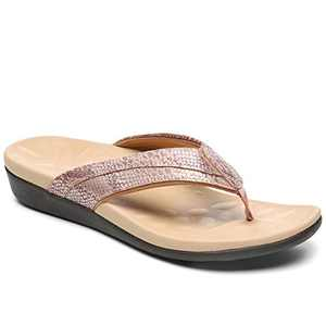 UTENAG Women Orthotic Flip Flops Comfort Thong Sandals with Arch Support Beach Flats Shoes Gold
