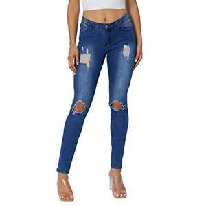 JPF Women's Stretch Ripped Skinny Butt Lift Jeans Casual Distressed Denim Pants(Blue2,30)