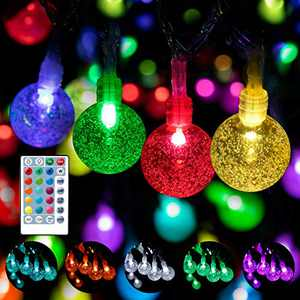 WENFENG Led Color Changing Outdoor String Lights for Patio, 125 Led Waterproof Crystal Bubble Globe String Lights with Remote, Indoor String Lights for Bedroom, Party Decoration (Multi-Colored, 82)