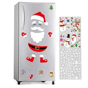 CERLMLAND Santa Claus Fridge Magnet Refrigerator-Stickers, Christmas Decorations-Window Scratch-Free Set of 18 Parts and 8 Stickers