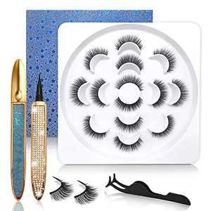 Updated Magic Eyeliner With No Magnetic Eyelashes Kit, 2 Tubes of Waterproof Eye Liner & 7 Pairs Natural Look Lashes Kit - 100% Hand-made & 3D Reusable Eyelash
