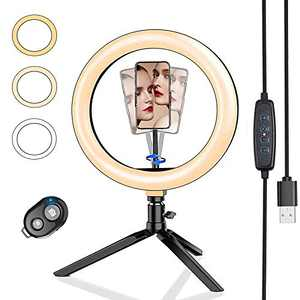 "10"" LED Desk Ring Light with Tripod Stand & Phone Holder, Roasemal Dimmable Selfie Ring Light for Makeup, YouTube, Live Streaming, Photography, TikTok, Compatible with iOS/Android"