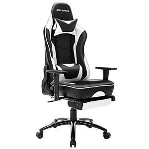 STARSPACE Massage Gaming Chair with Footrest, High-Back Swivel Metal Base Adjustable Height Tilt Angle Arms Ergonomic Racing Style Computer Office Desk Chair, White
