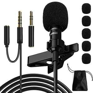 Ryqtop Professional Lavalier Microphone,Phone Microphone,Noise Reduction Mic, Suitable for Interview,Video,Recording,Black.59'' (Headphone Jack)