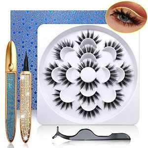 3D Magic Eyelashes and Eyeliner Kit, 7 Pairs Dramatic Lashes with 2 Tubes of Light Glue Eyeliners, Reusable Faux Mink Eyelash Set Without Magnetic