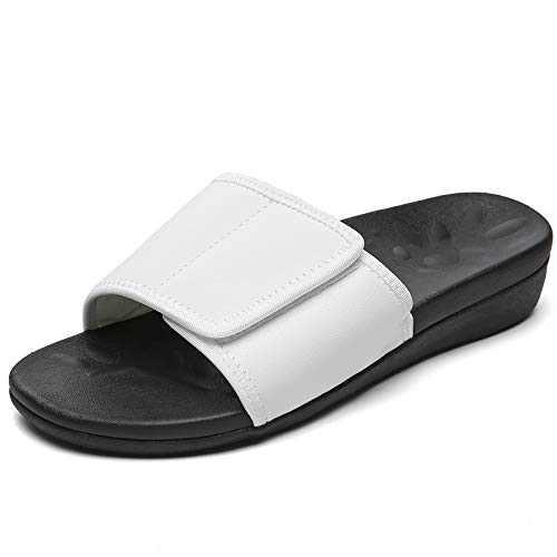 UTENAG Womens Arch Support Slide Sandals Adjustable wrap Orthopetic Slides White