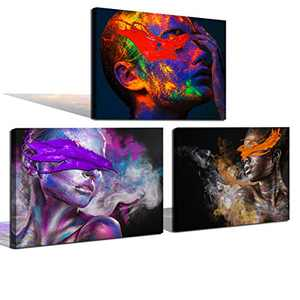Canvas Wall Art Oil Painting Creative Portrait Artwork Mural Living Room Office Hanging Painting Bathroom Decorative Painting Printing Canvas (12x16 inches x3) Poster Picture
