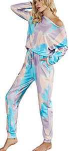 AKEWEI Womens Tie Dye Printed Long Sleeve Tops and Pants Long Pajamas Set Joggers PJ Sets Nightwear Loungewear Colorful XL Purple
