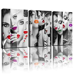 DWGEAR Bedroom Wall Art Mouth Creative Portrait Artwork Mural Living Room Office Hanging Painting Art Decorative Painting Printing Canvas (12x16 inch 3) Poster Picture.