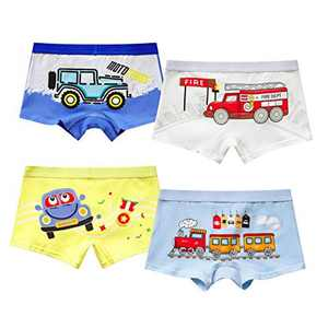 MiSense 4 Pack Boys Knickers Soft Cotton Boxers Kids Underwear Boy Underpants With Lovely Monster and Dinosaur Design for 2-11 Years