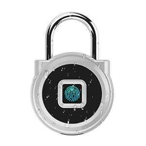 eLinkSmart Gym Locker Digital Padlock, IP65 Waterproof Fingerprint Padlock, Security Keyless Mini Smart Lock for House Door, Swimming Center, Backpack, Travel Luggage (Silver)