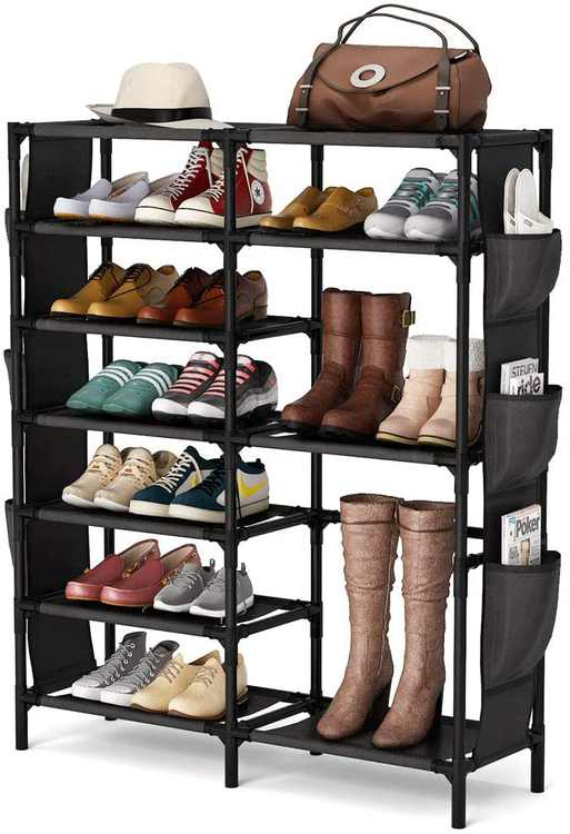 Tribesigns 7 Tier Shoe Rack with Non-Woven Fabric Cover for Shoe Storage, Ideal Shoe Cabinet for Hallway Living Room