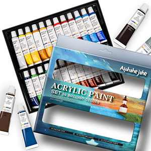 Acrylic Paint Set, Perfect for Canvas, Wood, Ceramic, Fabric. Non Toxic & 24 Vibrant Colors. Rich Pigments Lasting Quality for Beginners, Students & Professional Artist(B)