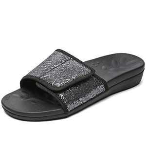UTENAG Womens Arch Support Slide Sandals Adjustable wrap Orthopetic Slides Grey