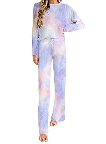 Azokoe Women Tie Dye Printed 2 Piece Sweatsuit Set Long Sleeve Crew Neck Pullover Top and Pants Pajamas Set Blue M