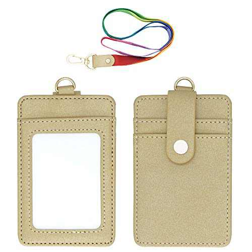 Apricot Lanyard with ID Badge Holder, PU Leather Office Card Holders with 1 Clear Vertical Window, Extra 2 Back Credit Card Slots with Button and One Detachable Neck Lanyard