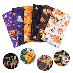 Souarts 6pcs Halloween Fabric Squares, 6x6inch/15x15cm Cotton Fabric Bundle, Halloween Material Fabric Sewing Quilting Patchwork Fabric, DIY Craft Halloween Ghost Floral Pattern Pumpkin Fabric