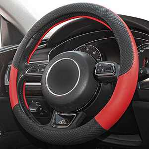 Universal Microfiber Leather Steering Wheel Cover Breathable, 15 inchs Anti-Slip Steering Wheel Cover for Car Truck SUV…(RED)