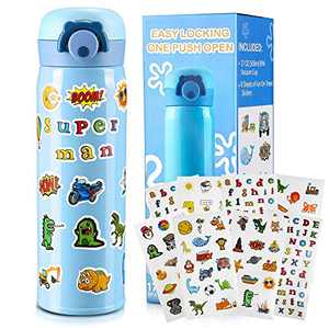 Gift for Boys, Decorate Your Own Water Bottle with Fun Stickers Crafts Kit and DIY Arts Set Blue Vacuum Insulated Travel Mug Cool and Creative Christmas Gift for Boy
