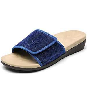 UTENAG Women's Slide Sandals with Arch Support Comfort Adjustable Wrap Orthopetic Sport Slides Blue
