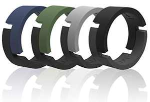 Arua Breathable Silicone Wedding Rings for Men / 4-Pack/Rubber Wedding Bands for Ahtletes, Workout, Crossfit / 8 mm Wide / 2.5 mm Thick