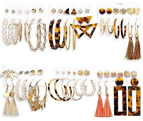 35 Pairs Fashion Tassel Dangle Earrings Set, Bohemian Acrylic Leopard Hoop Earrings for Women & Statement Drop Earrings for Girls, Pearl Stud Earrings Jewelry Gifts