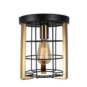 Bizinlumin 1-Light Modern Luxury Close to Ceiling Light Fixture, Small Round Black and Gold Flush Mount Light Mini Industrial Metal Cage Entry Ceiling Light E26 Edison BY19006G