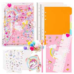 BeYumi Refillable A5 Glitter Notebook Unicorn Journal Set - 6 Holes Quicksand Binder, Blank & Squared Papers, Index Dividers, Paper Clips, Storage Bag, Ruler, Pink Ball Charm, Unicorn Stickers, Pen