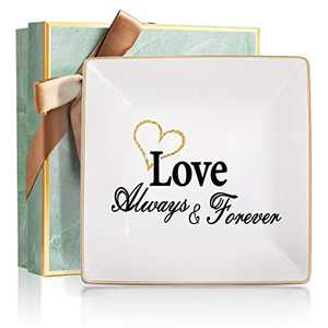 Wedding Gifts for Couple Jewelry Trays Organizer, Love Always Forever Best Girlfriend Gifts for Couple - Ring Dish Gifts
