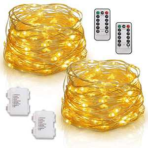 Whonline 2 Pack, Fairy String Lights, 33 Feet 100 Led, Twinkle Fairy Lights with Remote, 8 Modes Battery Operated, for Bedroom Home Wedding Christmas Party Decoration