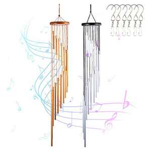 INONE Wind Chimes with 18 Aluminum Alloy Tubes for Window, Garden, Patio, Yard, Home Decor (Gold & Silver)
