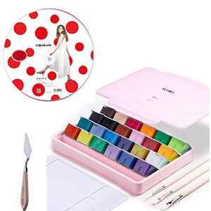 AOOK HIMI Gouache Paint Set Jelly Cup 24 Vibrant Colors Non Toxic Paints with Portable Case Palette for Artist Canvas Painting Watercolor Papers, Rich Pigment, (29P 24PINK+++)