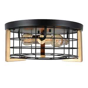 Bizinlumin Round Black and Gold Metal Cage Ceiling Light, Modern Luxury Flush Mount Light Fixture Industrial Foyer Bedroom Close to Ceiling Light 3-Light E26 Edison BY19007G