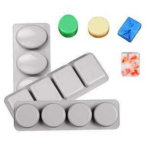 NICOLE 3 Pack Silicone Soap Molds, 4 Cavities Silicone Baking Mold DIY Handmade Soap Making, Muffin, Loaf, Brownie More