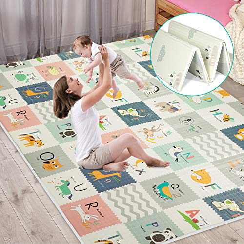 FLAGAV Baby Play Mat, Extra Large Folding Baby Crawling Mat, Waterproof Reversible Playmat Foam Non Toxic Anti-Slip Portable Kids Play Mat for Infant, Toddler(with Travel Bag)