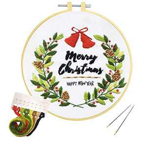 Louise Maelys Christmas Embroidery Kit for Beginners with Christmas Wreath Pattern Adult Craft Cross Stitch Kits for Christmas Decor Gifts