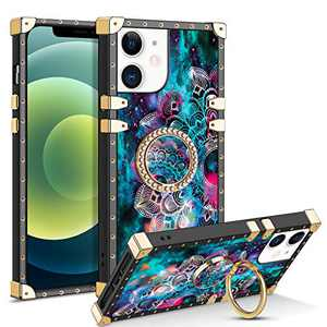 CHEERINGARY Compatible with iPhone 12 Mini Case with Ring Stand Holder Square Case for Women Girls Luxury Elegant Soft TPU Shockproof Protective Case Compatible with iPhone 12 Mini 5.4 inch Mandala