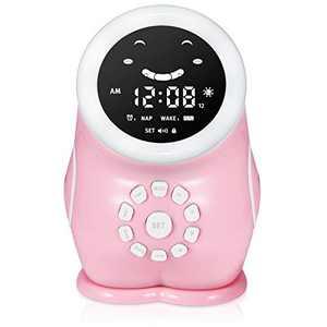 Karei Kids Alarm Clock, Children Sleep Trainer Toddler Ok to Wake Clock, Kids Night Light Gift for 2-6 Year Old Boys Girls (Pink)