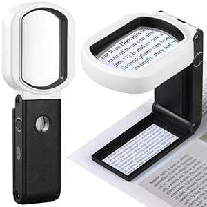 Magnifying Glass with Light, 15X 4X Handheld and Standing Magnifying Glass 9 LED Illuminated Lighted Magnifier for Reading, Inspection, Jewelry, Exploring, Hobbies & Crafts